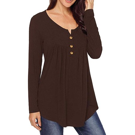 Womens Tops V Neck T-Shirts Swing Ruffle Blouses Button up Tunic Casual Flowy Henley Long Sleeve (Ruffle Bottom Tunic)
