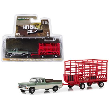 Greenlight 32150A 1969 Ford F-100 Pickup Truck Farm & Ranch Special Green & Cream with Red Bale Throw Wagon Hitch & Tow Series 15 1-64 Diecast