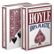 1 Deck Hoyle 100% Plastic Standard Poker Playing Cards Red Brand New Deck by USPCC