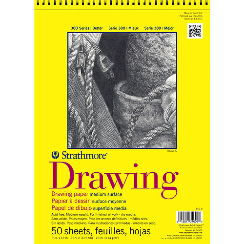 """Strathmore Drawing Paper Pad, 14"""" x 17"""", 70 lb, 50 Sheets"""