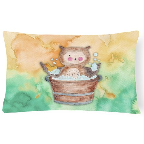 Zoomie Kids Harry Owl Bathing Watercolor Lumbar Pillow