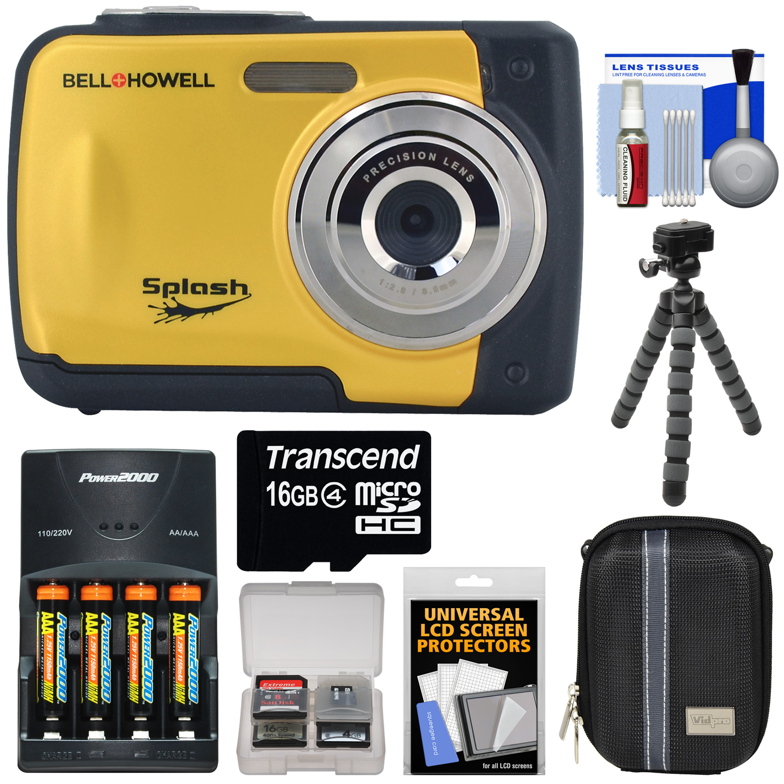 Bell & Howell Splash WP10 Shock & Waterproof Digital Camera (Yellow) with 16GB Card + Batteries & Charger + Case + Flex Tripod + Kit