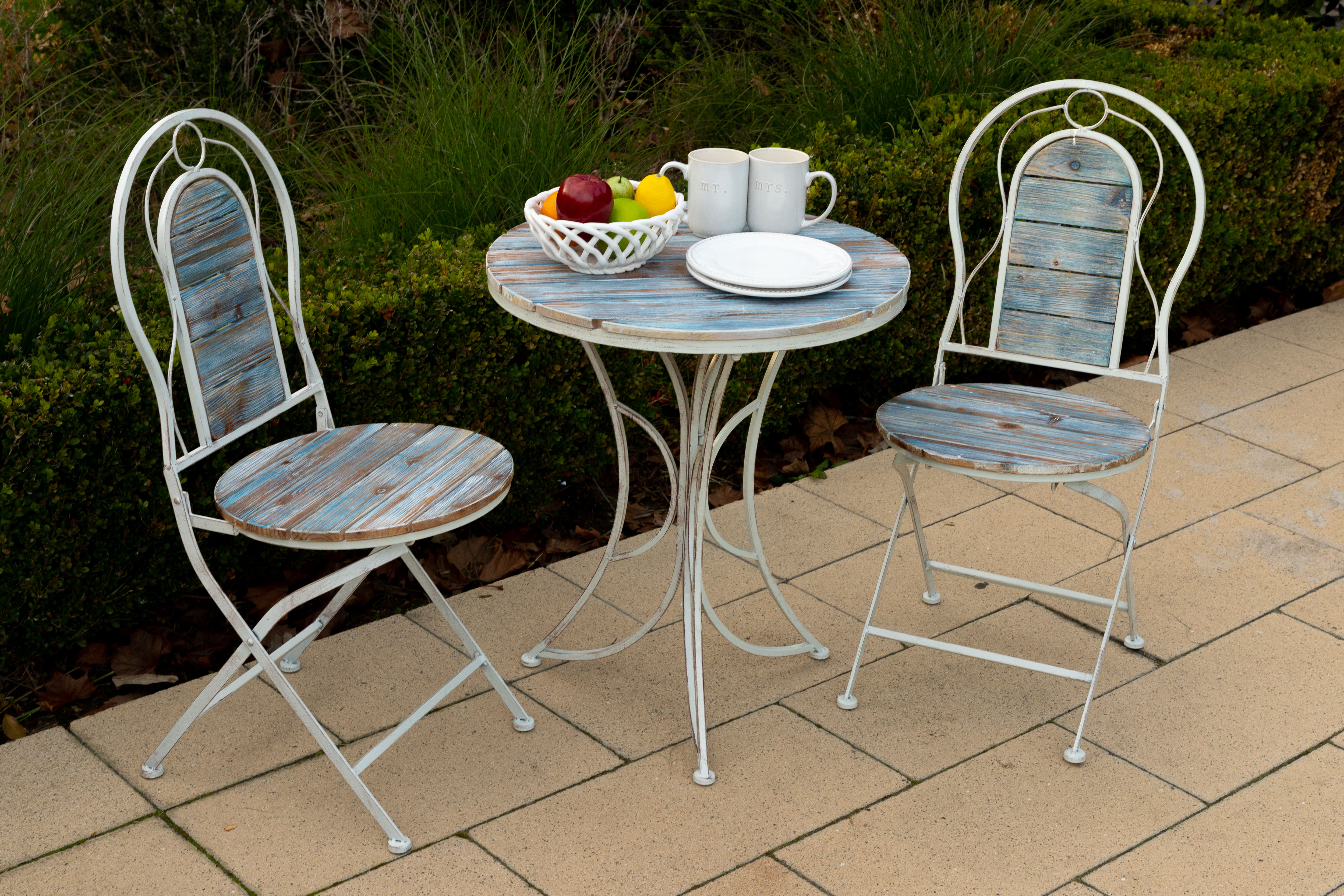 Alpine Metal Wood Patio Garden Furniture 3 Piece Bistro Set 1 Table And 2 Chairs 28 Inch Tall