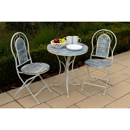 Alpine Metal & Wood Patio Garden Furniture 3-Piece Bistro Set, 1 Table and 2 Chairs, 28 Inch Tall ()