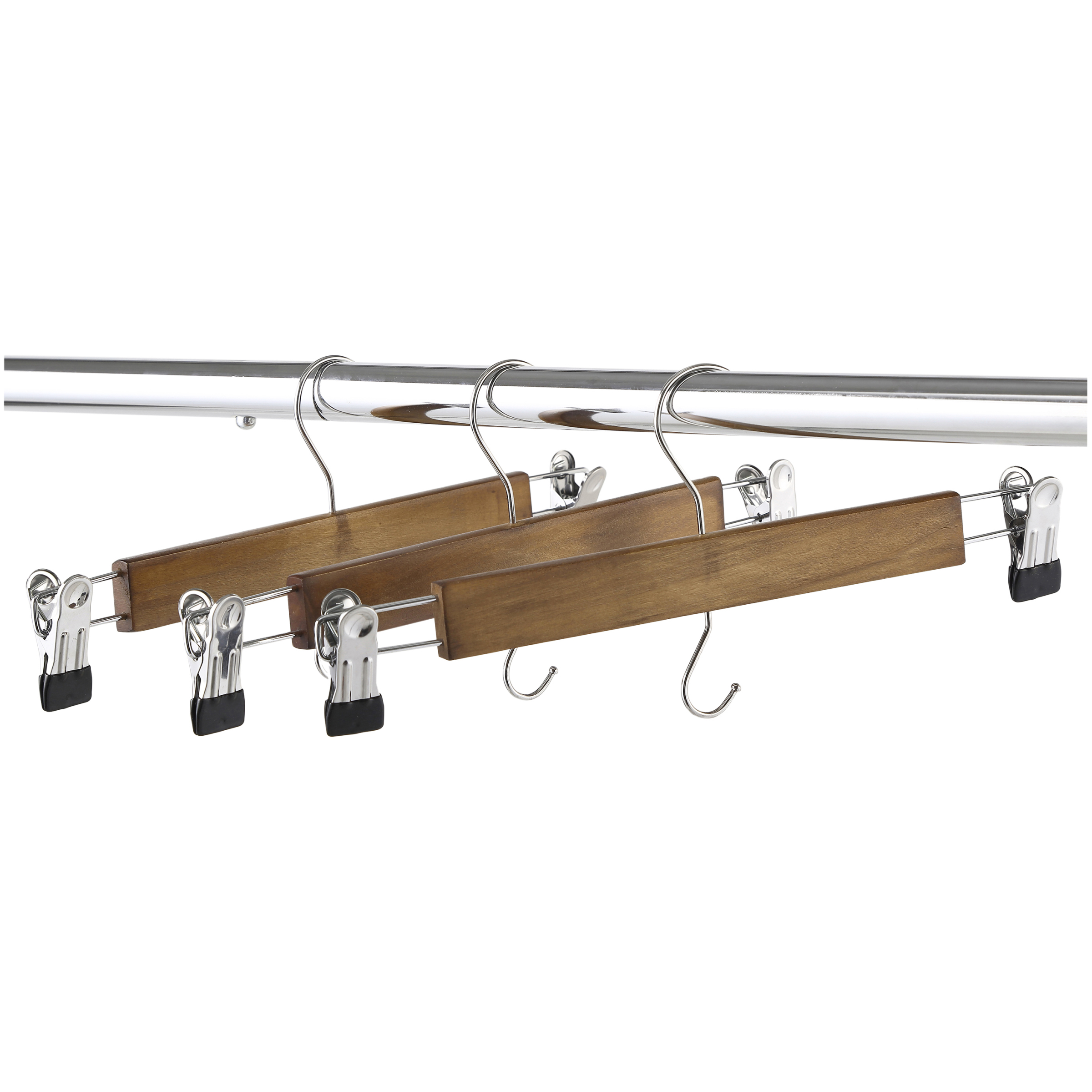 Better Homes & Gardens Walnut Finish Solid Wood Pant & Skirt Hangers, 36 Count