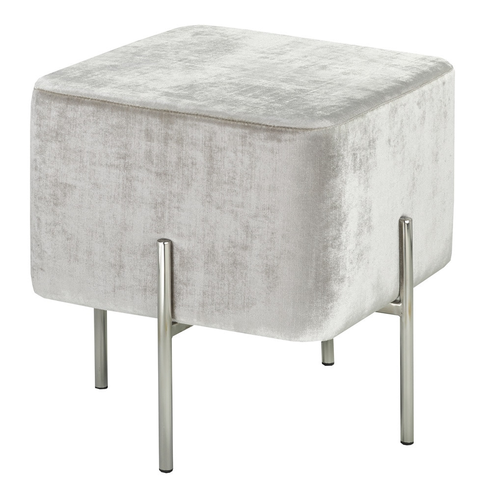Uptown Club Modern Square Velvet Upholstered Foot Stool Ottoman