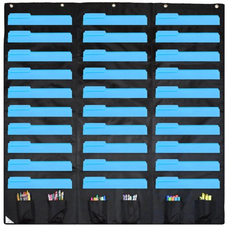 Classroom Helper Chart (COMPONO 30 Pocket Storage Pocket Chart and Hanging Wall File Organizer with 6 Accessory Pockets. Best Pocket Chart for School, Classroom, Home, or Office Use.  Wall Pocket Chart Organizer)