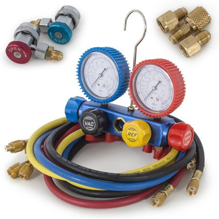 Arksen R410 R22 R134 R407C AC Manifold Gauge Set w/ 5ft Colored Hoses, 1/2