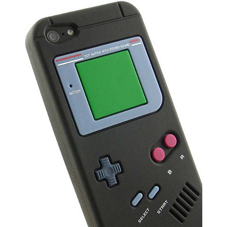 BLACK RETRO GAMEBOY SOFT RUBBER/SILICONE SKIN CASE COVER FOR iPHONE 5 5s SE (Iphone 5 Cases Gameboy)