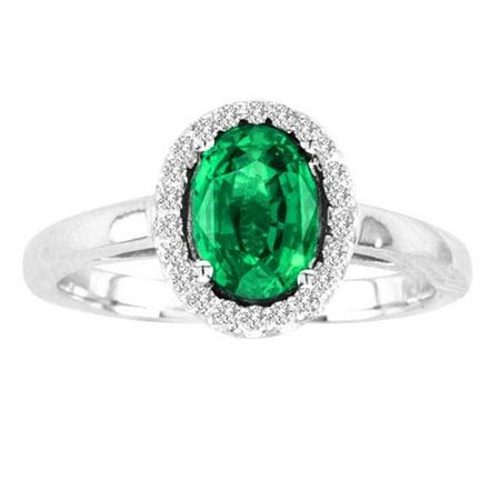 White Gold Vs2 Ring (R50916-14W-EM-75-vs2 7 x 5 in. 14K White Gold Oval Emerald VS2 Gemstone Ring )