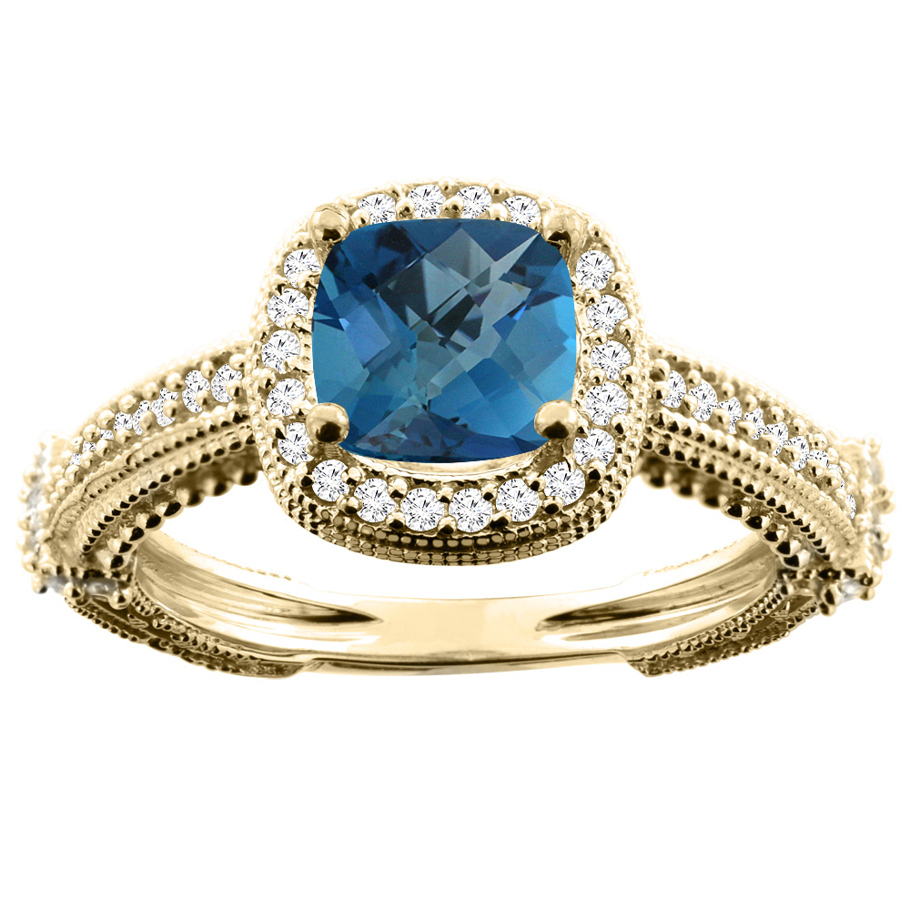 10K Yellow Gold Natural London Blue Topaz Ring Cushion 7x7mm Diamond Accent, size 5.5 by Gabriella Gold