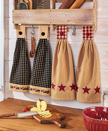 The Lakeside Collection Set of 2 Hanging Kitchen Towels by