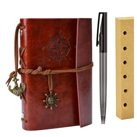 Refillable Journal, Outgeek Vintage Artificial Leather Bound Notebook Diary with Pen Blank Interleaves ()