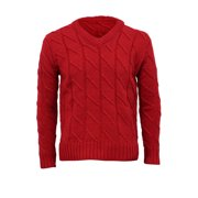 Azzuro Men's Weave Cable Rib Design V Neck Long Sleeve Pullover Sweater (Size M / 40)
