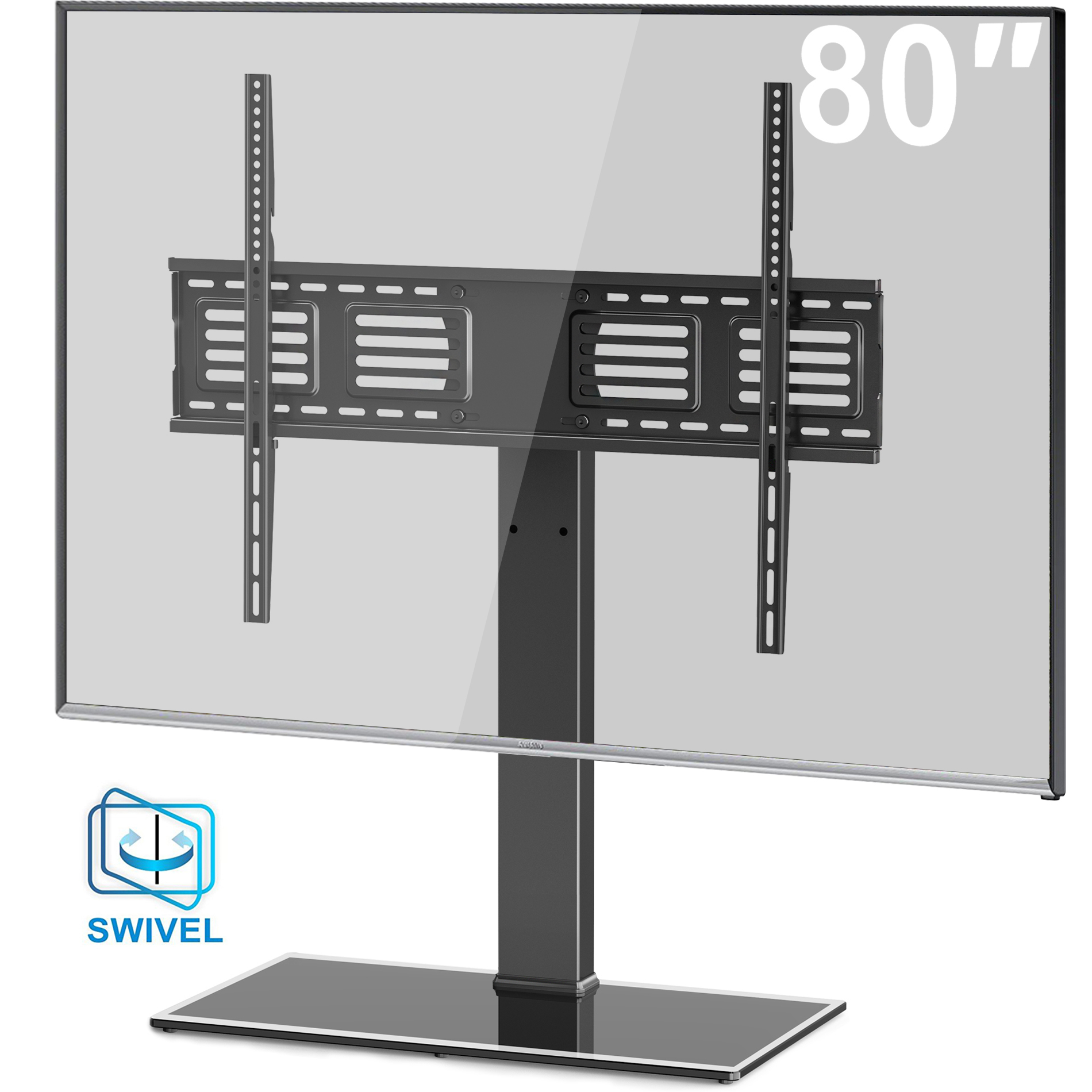 FITUEYES Universal TV Stand Swivel Tabletop TV Stand with Mount for 50 to 80 inch Flat screen Tvs TT107003GB