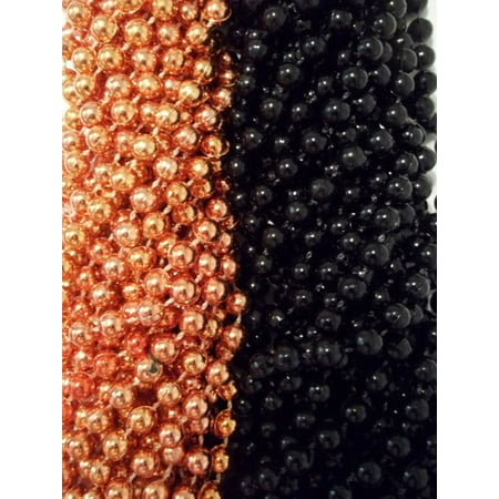 Halloween Party List (72 Orange Black Round Mardi Gras Beads Party Favors Halloween Necklaces 6)