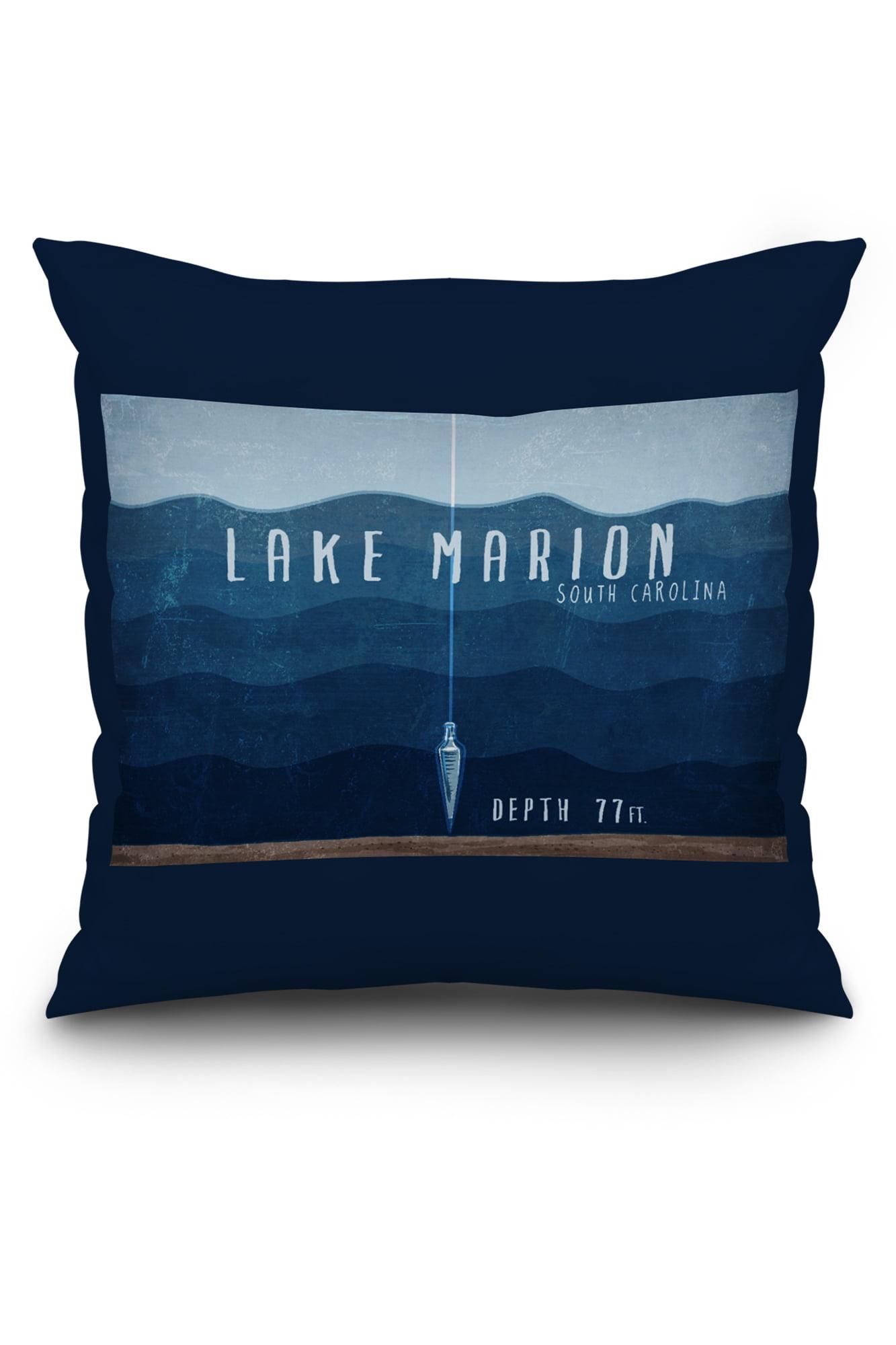Lake Marion, South Carolina - Lake Essentials - Lake Depth - Lantern Press  Artwork (16x16 Spun Polyester Pillow, Black Border)