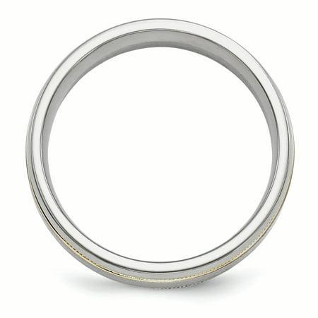 Edward Mirell Titanium &14K Brushed & Polished Millgrain 7mm Band Size 10 - image 2 de 4