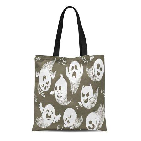 ASHLEIGH Canvas Tote Bag Halloween of Cute Cartoon Ghosts Different Faces Pattern Boo Reusable Shoulder Grocery Shopping Bags Handbag](Bat Cartoon Halloween)