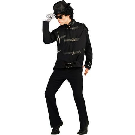 Michael Jackson Bad Black Buckle Jacket Deluxe Adult Halloween Costume - Michael Jackson Makeup Halloween