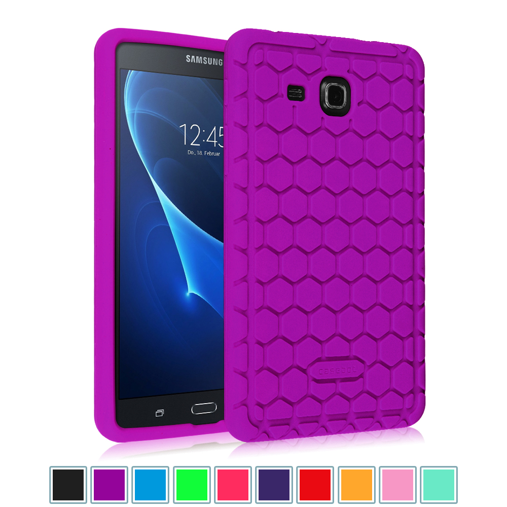 "Samsung Galaxy Tab A 7.0"" Tablet Silicone Case - Fintie Lightweight [Anti Slip] Shock Proof Cover Kids Friendly, Purple"