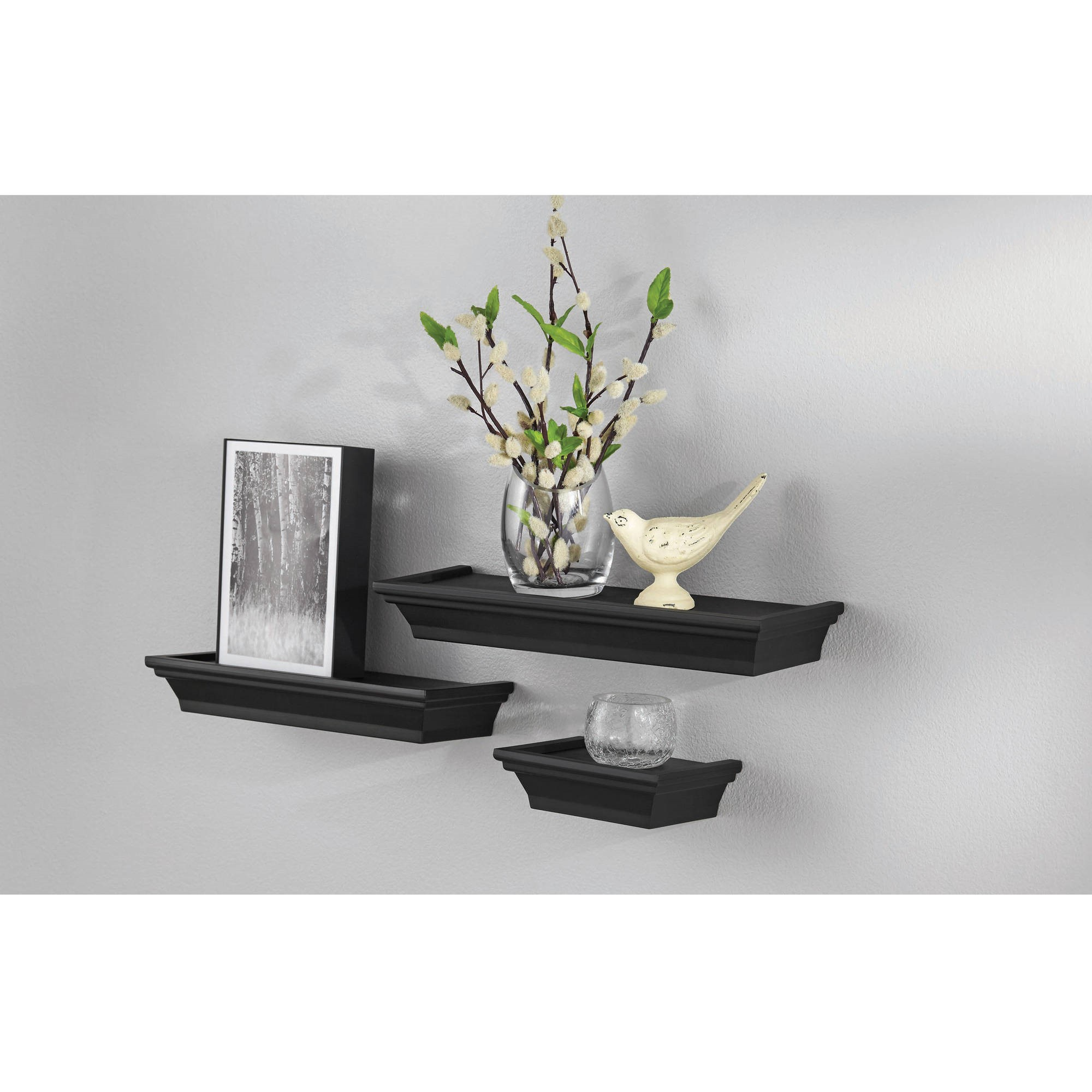 Mainstays 3-Piece Decorative Shelf Set, Black - Walmart.com