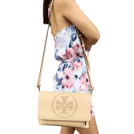 NWT Tory Burch Perforated Logo Fold Over Crossbody Clutch Sand Dune Beige Large ()