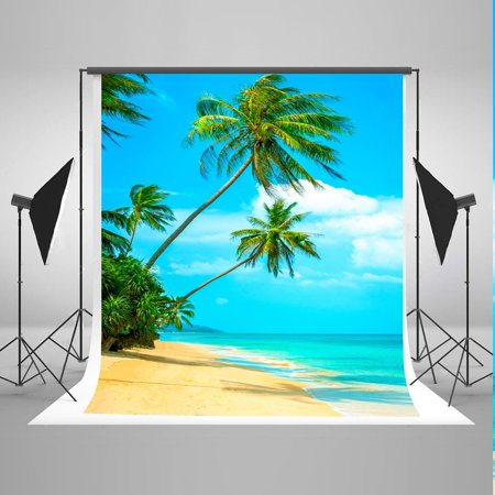 HelloDecor Polyster 5x7ft Tropical Rainforest Photography Backdrop Summer Beach Background Cloth for Wedding Photo Booth