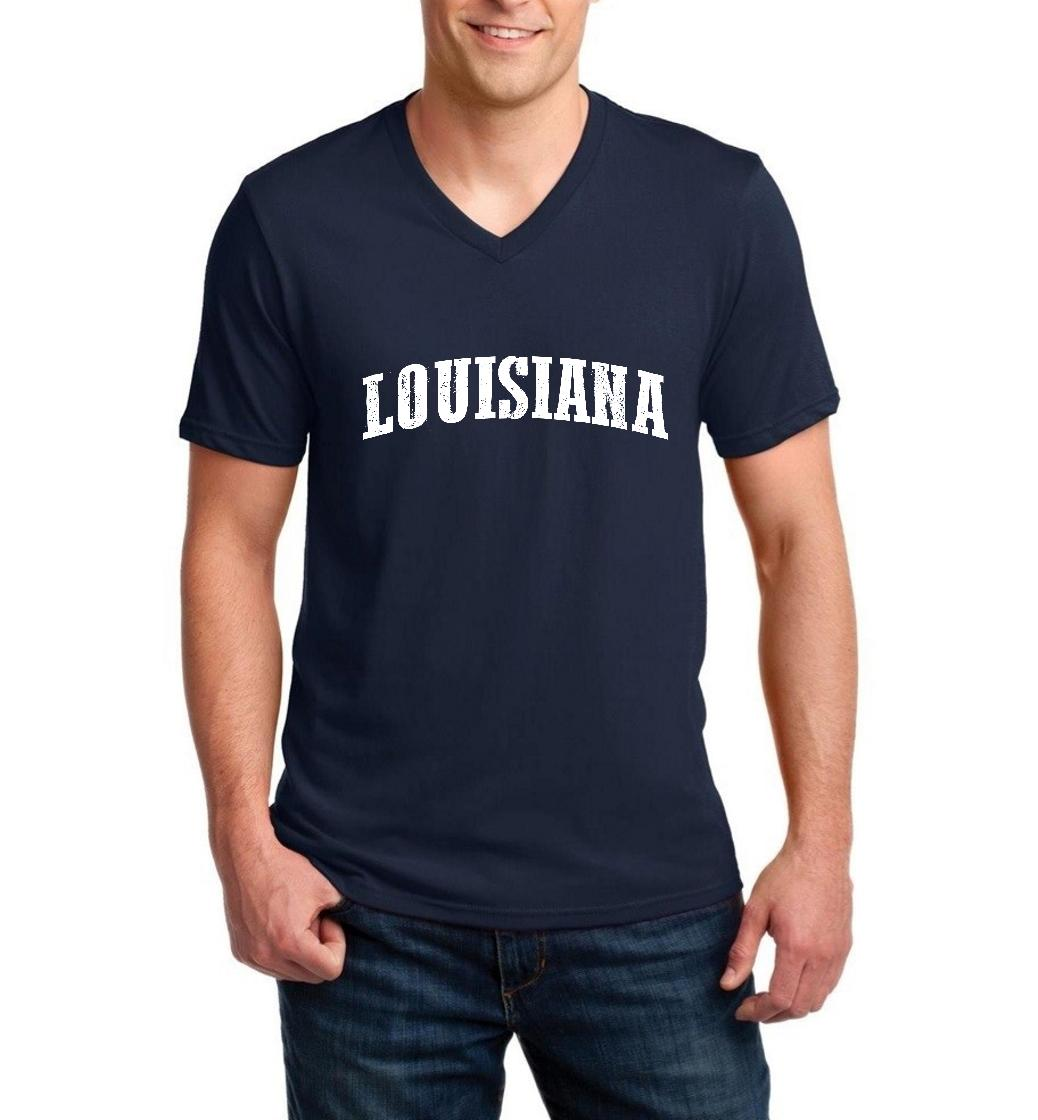 J_H_I LA Map New Orleans Flag Baton Rouge Home of University of Louisiana  Men V-Neck Shirts Ringspun