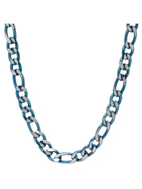 Men's Stainless Steel Jewelry/Blue IP Ion Plated 22 Two-Tone Figaro Chain Necklace, 7.00mm