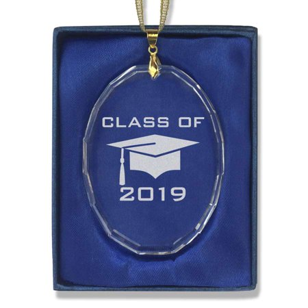 Oval Crystal Christmas Ornament - Grad Cap Class of 2019