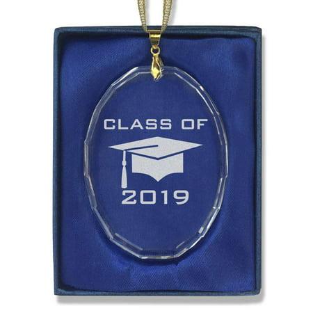 Oval Crystal Christmas Ornament - Grad Cap Class of -