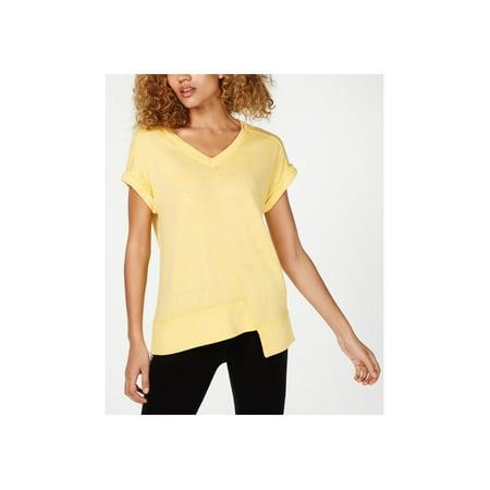 CALVIN KLEIN Womens Yellow Cap Sleeve V Neck T-Shirt Active Wear Top Size M