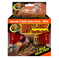 Zoo Med Nightlight Red Reptile Bulb - 2 pack (60 Watt)