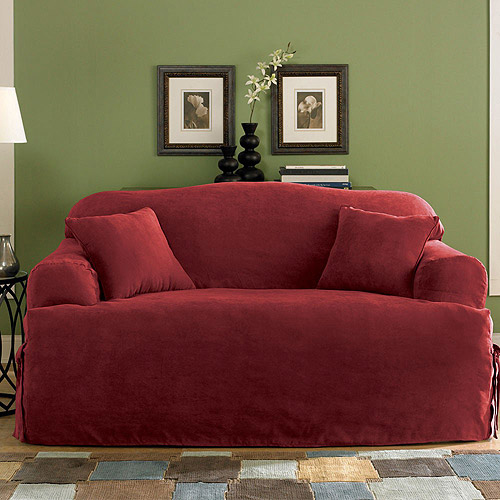 Sure Fit Soft Suede T-Cushion Loveseat Slipcover