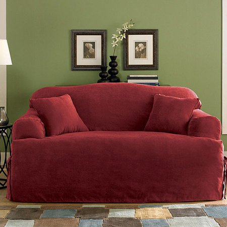 Sure Fit Soft Suede T Cushion Loveseat Slipcover
