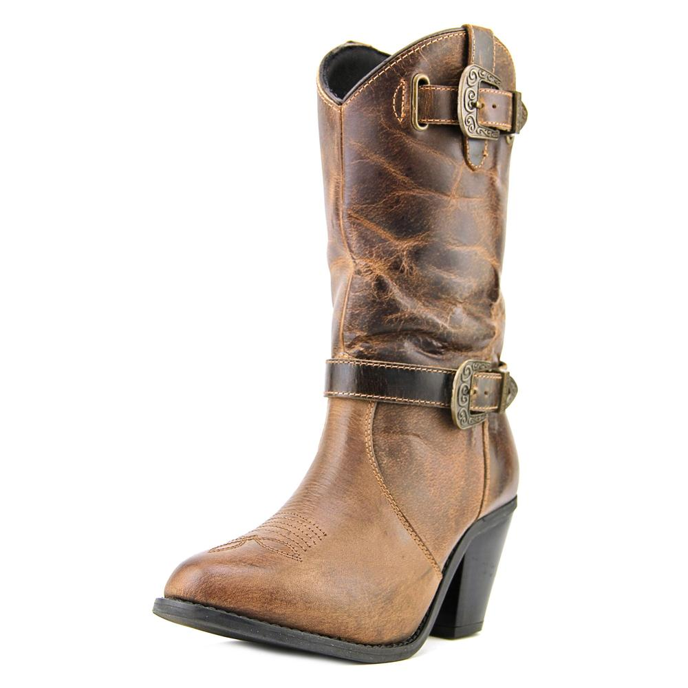 Dingo Nelly Women Round Toe Leather Brown Ankle Boot by Dingo