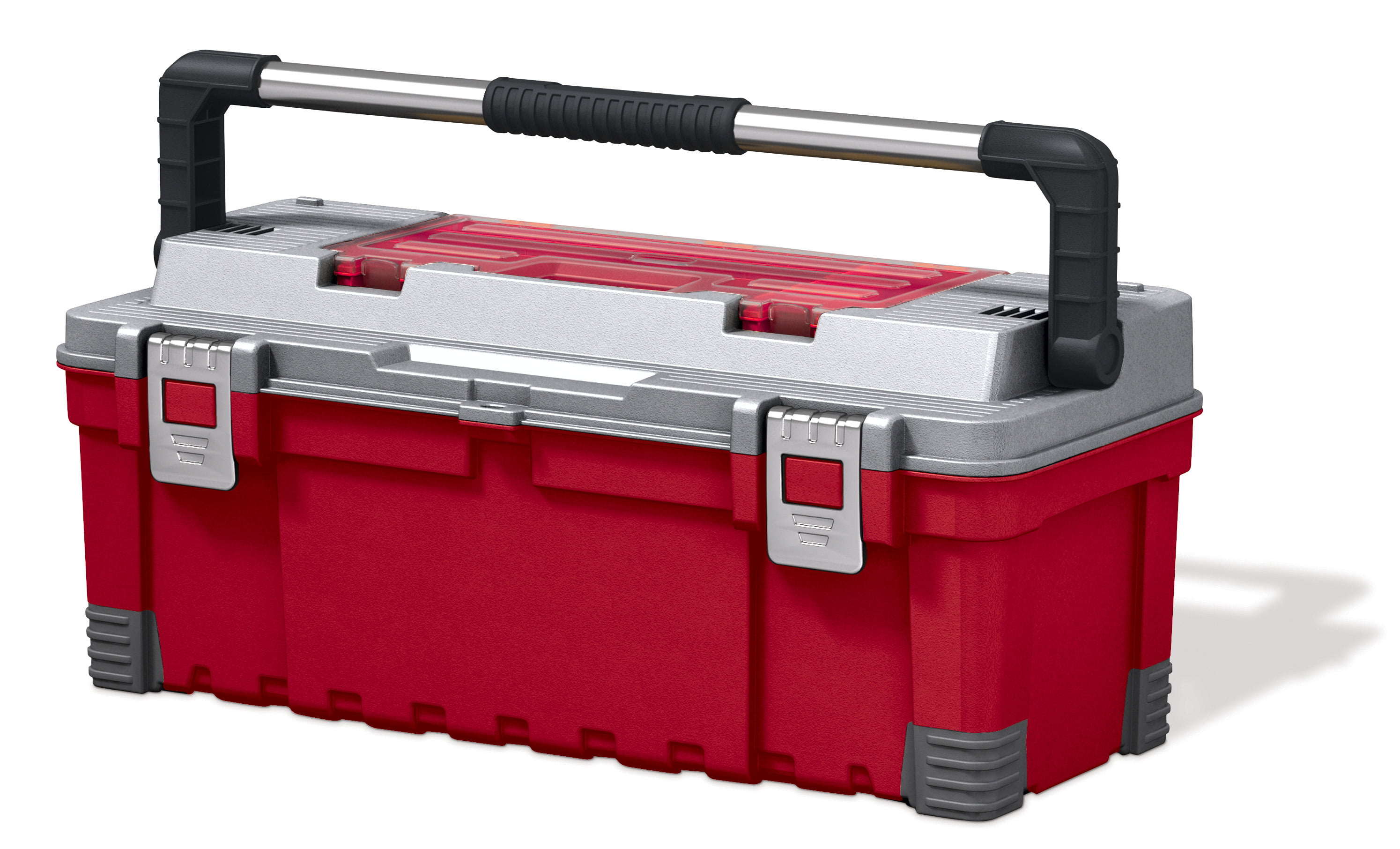 Keter 26-inch Tool Box, Resin Tool and Hardware Storage, Red