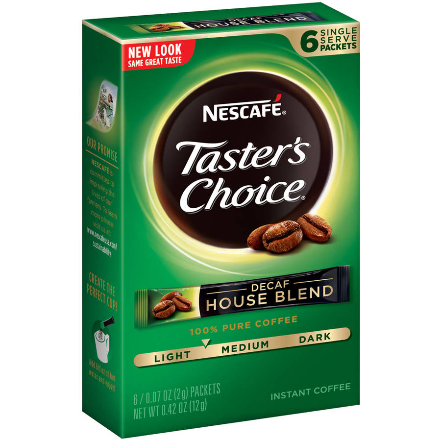 Nescafe Taster's Choice Decaf House Blend Instant Coffee Packets, 0.07 oz, 6 count