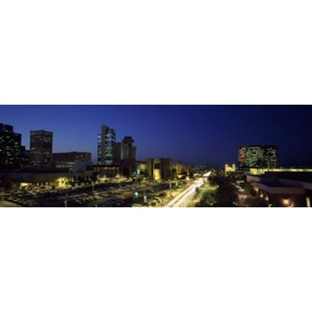 Buildings in a city lit up at night Phoenix Maricopa County Arizona USA Canvas Art - Panoramic Images (18 x 6)