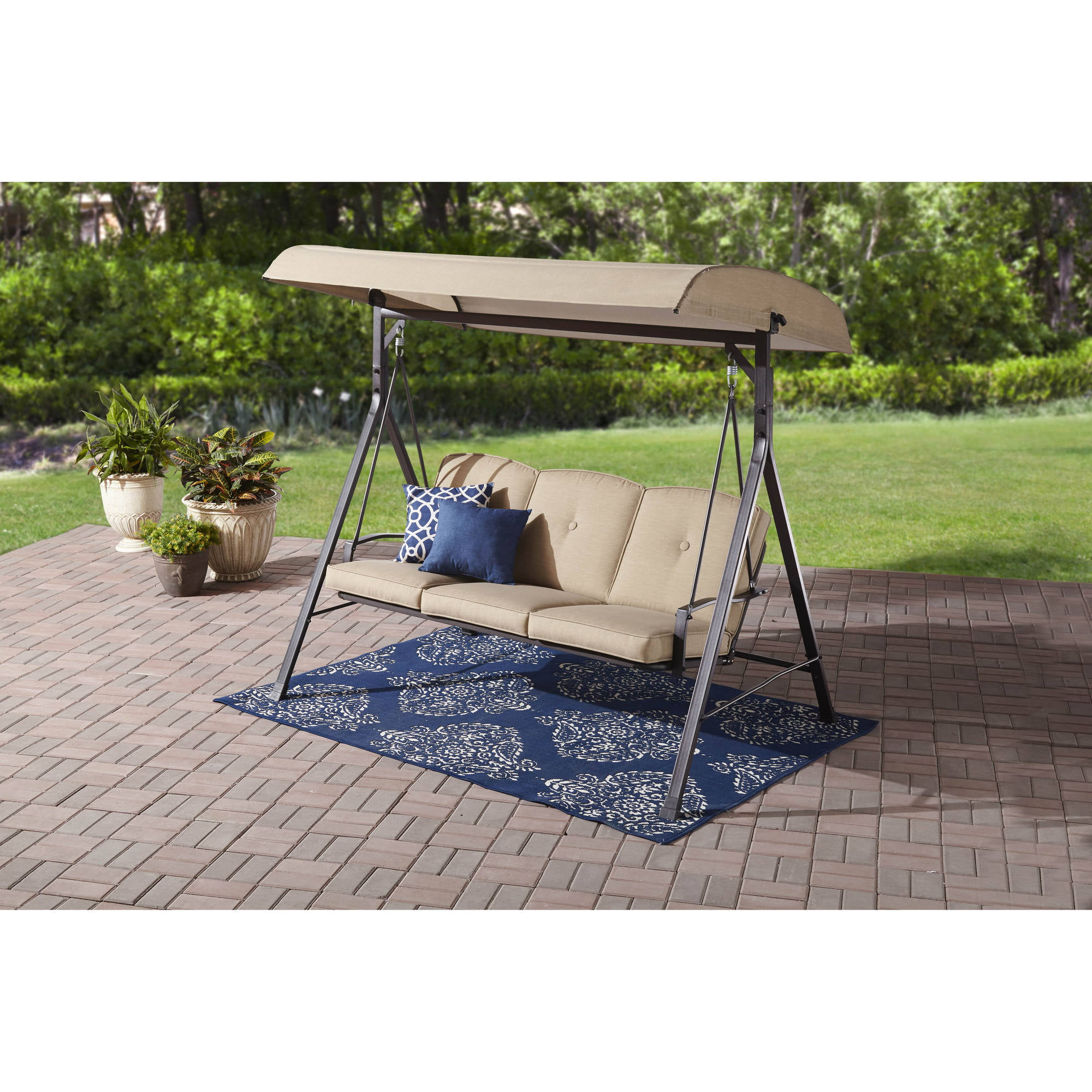 Mainstays Forest Hills 3-Seat Cushion Canopy Porch Swing by Porch Swings