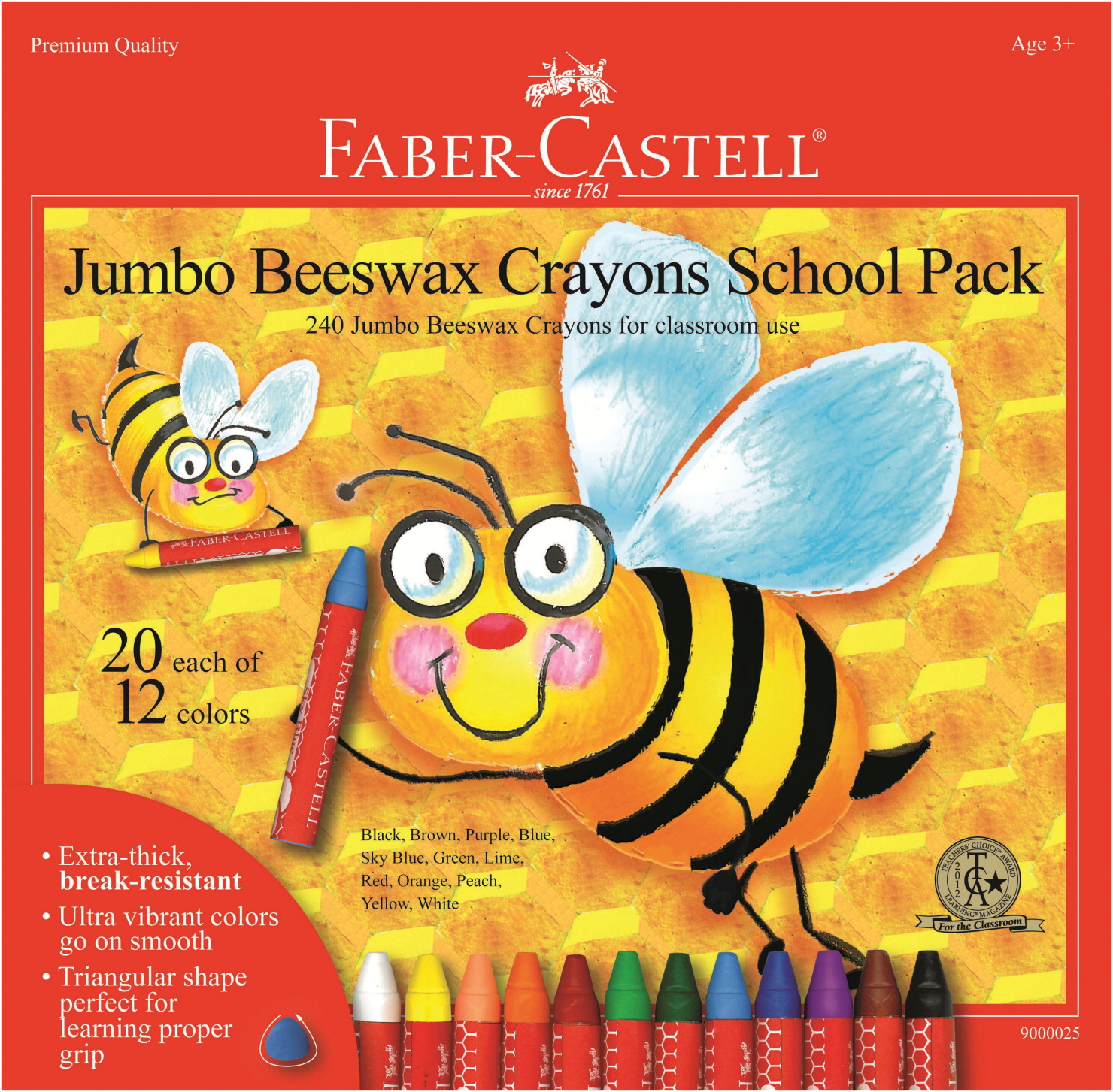 Faber-Castell Jumbo Triangular Beeswax Crayon School Pack, Assorted Color, Pack of 240