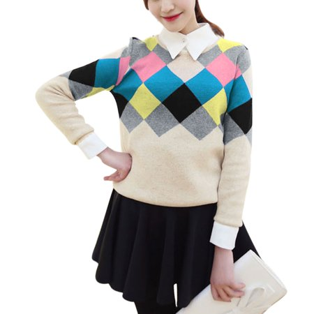 Allegra K Women's Beige Argyle Pattern Contrast Color Casual Sweater (Size S / 4)