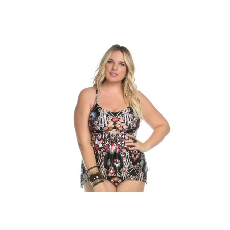 6f72d322e8d Becca ETC - Women s Plus Size Havana Tankini Swim Top-0X-Mlt ...