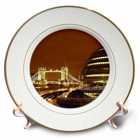 3dRose Tower Bridge, City Hall, London, England - EU33 DWA0039 - David Wall, Porcelain Plate, 8-inch