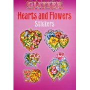 Glitter Hearts and Flowers Stickers - Heart Glitter