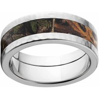 Xtra Men's Camo Stainless Steel Ring with Hammered Edges and Deluxe Comfort Fit