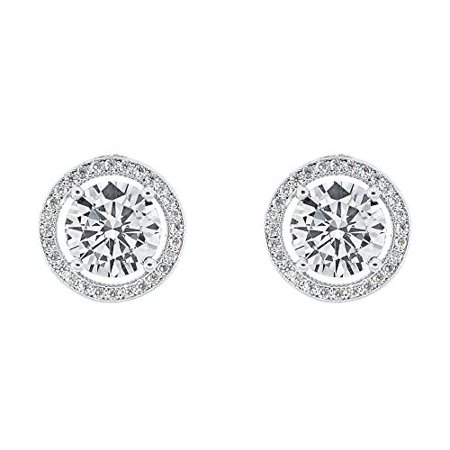 halo earrings drop gold diamond white
