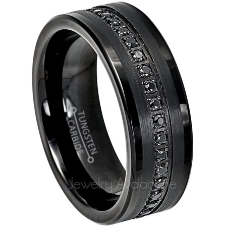 Black Tungsten Wedding Ring - Band for Mens 8mm Tungsten Eternity Ring Black CZ Accented - Comfort Fit Pipe Cut Tungsten Carbide Ring - TN775s7