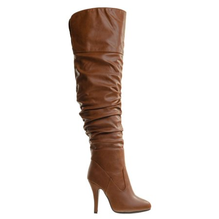 Focus33 by Forever Link, High heel Stretch Wrinkled Slouchy Dress Boots. Over-The-Knee Thigh High